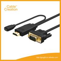6.5FT 2m 1080P HDMI Male to VGA Male Adapter Cord Audio Cable With Micro USB power Port