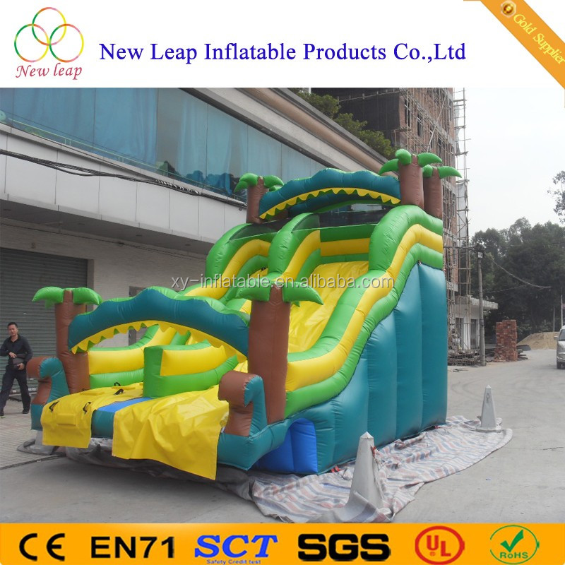 Commerical Coconut trees Inflatable Dry Slides with water Waves