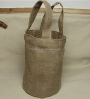 Burlap Yarn Pack Wine Bottle Bag With Handle & Bucket Shape