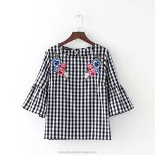 monroo 2017 Spring Women Vintage Flare Sleeve Plaid Shirts Blouse Women elegant flower embroidery casual blouse for business