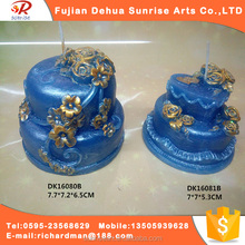 Blue cake shape candle making raw materials scented candle by China factory