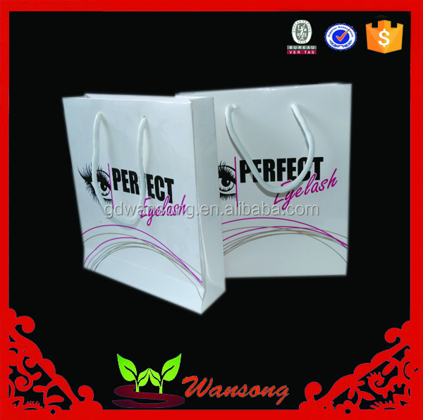 Promotion fashion popular cheap white paper gift bags reusable shopping paper bag with handles