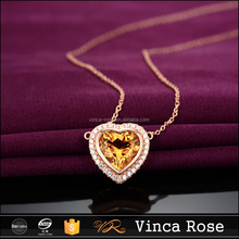 Crystal stone new-designed gold long chain pendant like romantic heart