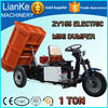 Agriculture dump cargo tricycle/farm used 1 ton tricycle dumper/save cost mini dump double motor electric tricycle