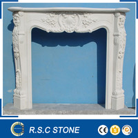 Cheap modern white marble fireplace mantel