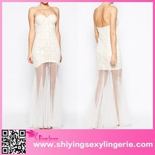 White Lace Sheer Hemline ladies western dress designs one piece girls party dresses designer one piece party dress