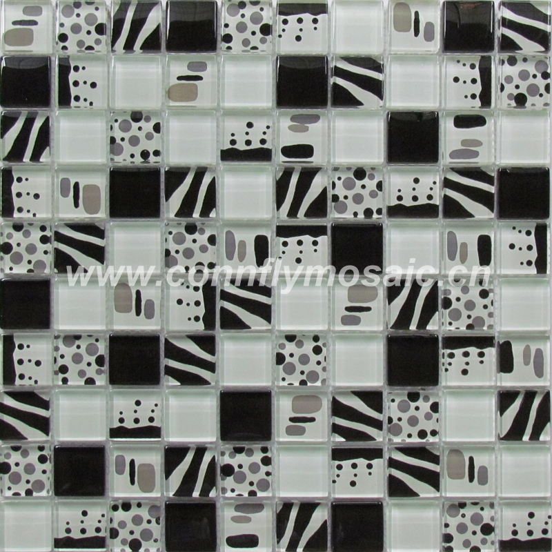 Flower picture design wall glass mosaic tile