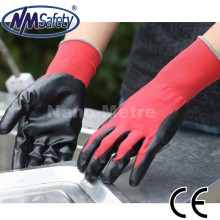 nmsafety 13gauge red nylon/black nitrile oil resister working gloves for <strong>safety</strong> cheapest price