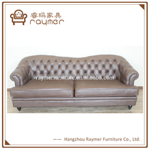 Modern classic vintage euro french tufted leather sofa design