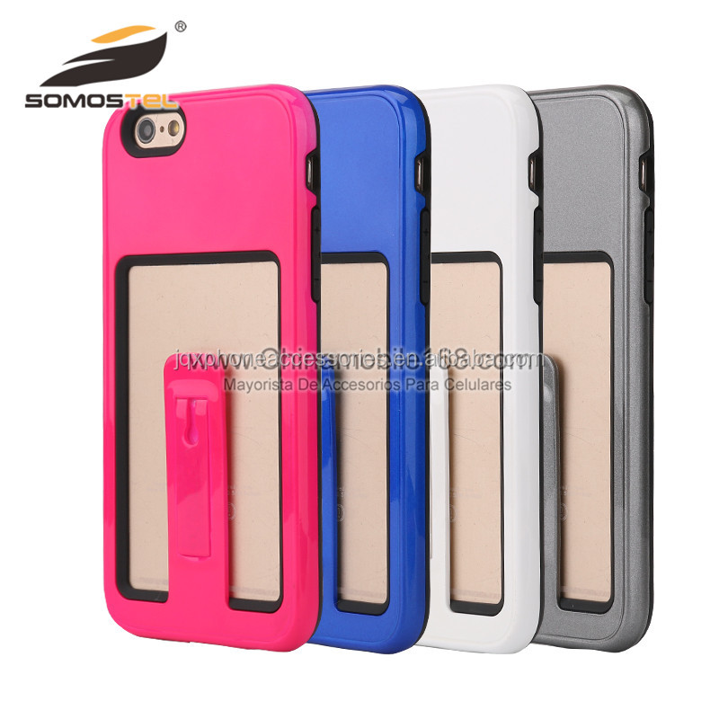 Wholesale TPU+PC Hybrid Kickstand Back Cover Cell Phone Case For Iphone 6S 6G 6 Plus