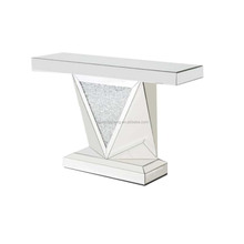 Diamond Crystals Mirrored Glass Console Table