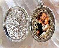 R0102 silver joseph handmade religious circle locket necklace