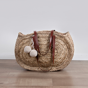 Knitted leather straw gift basket natural seagrass bag