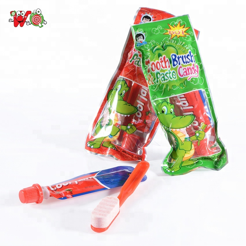 Newest funny yumy jam candy toothpaste with toothbrush press sweet