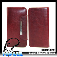Wallet detachable magnet leather case for iphone 4 4s