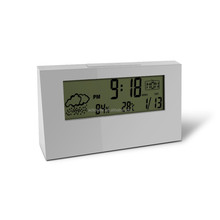 Latest Promotion Cute Design Indoor Temperature White Mini Alarm Clock With Weather Station