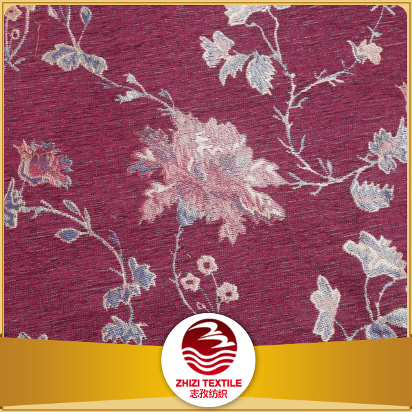 Zhejiang 100% polyester red home textile yarn dyed floral design chenille jacquard sofa fabric