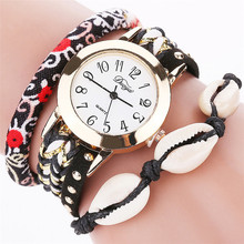 2960 new design fashion ladies crystal bracelet watch shell pendant cloth watch band wrist watch