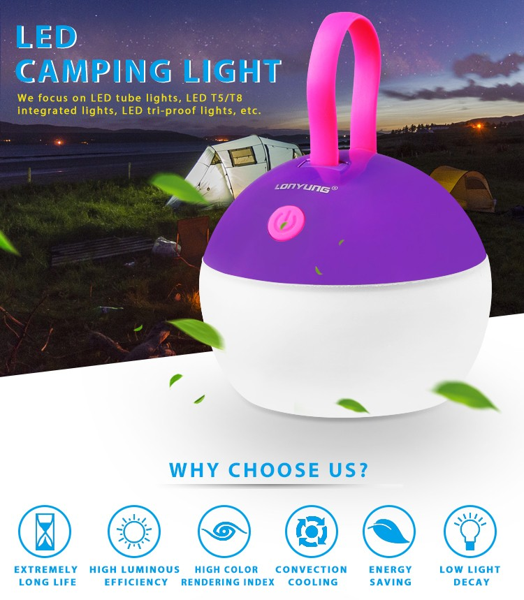 New camping equipment IP67 CE RoHS waterproof portable led camping light rechargeable