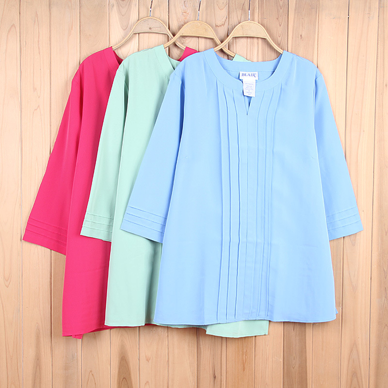 Stock Three Colors 3/4 Sleeves Chiffon Office Blouse For Women