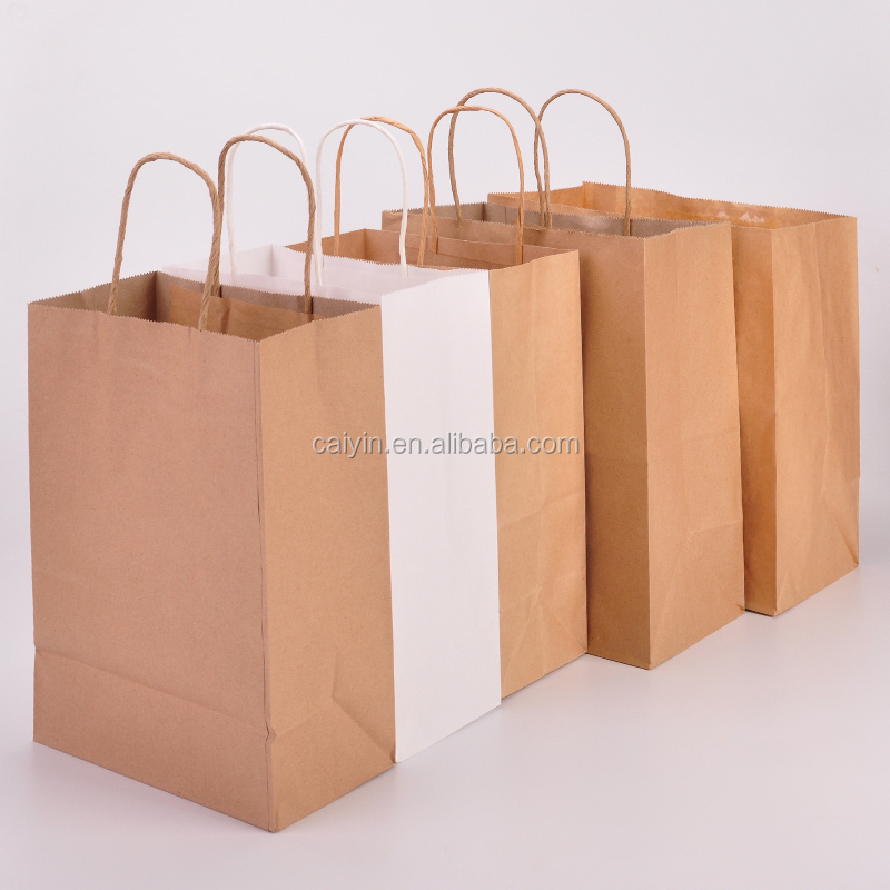 Cheap brown craft paper bag shopping bag with twisted string handle custom printed