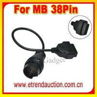 For Mercedes For Benz 38 Pin Plug (For MB 38Pin Cable) to 16 Pin OBDII OBD2 J1962 Female Adapter Cable