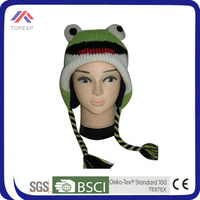 2014 frog funny custom winter hat with string and earflap