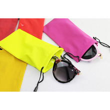 custom microfiber fabric sunglasses drawstring pouch printed brand logo on pouch eyeglasses packing bag wholesale price