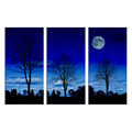 3 Panel Full Moon Night Scenery Canvas Painting Starry Sky Wall Picture for Living Room Ready to Hang on Wall/SJMT1931