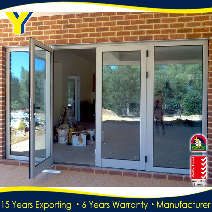 Aluminum Door with Authentic Pictures Double Glazed Tempered&Toughened Glass with AS2047 Manufacturer in Shanghai China