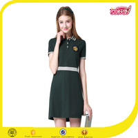 2016 OEM beautiful green korean high school uniforms models polo dress