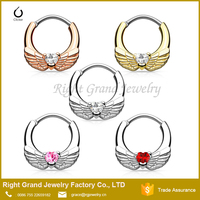 Stainless Steel Angel Wings Heart CZ Gem Septum Clicker Nose Ring Body Jewelry