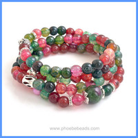 Wholesale Christmas Ornament Natural Gemstone Multi-color Agate Sterling Silver Charm Beads Bracelet GSB-K003