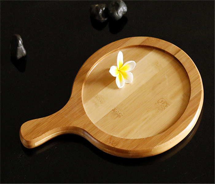 Durable and beautifully designed anti-microbial bamboo pizza tray or sushi serving tray