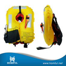 mini gas cylinder inflatable yellow life jacket for advertising surfing life vest