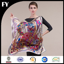 Custom new design high quality digital printed hand-roll hemming scarf in china