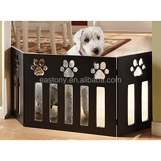 ET 72 Adjustable Three-Panel Black Wooden Pet Gates with Paw Decor
