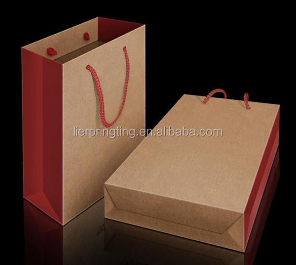 Promotional customized packaging bags wholesale china cheap kraft paper bag with handles