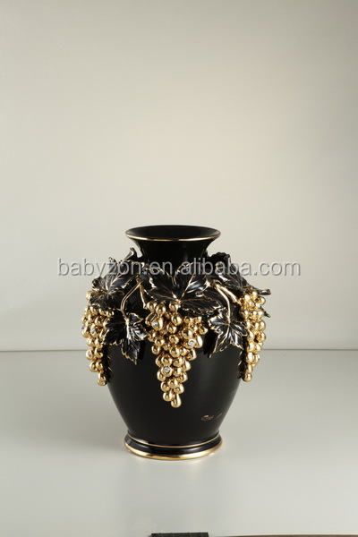 Black real gold grape Antique flower vase ceramic vase decoration