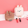 Cheap Cute Embroidered Plush Animals Square Blank Cosmetic Bag