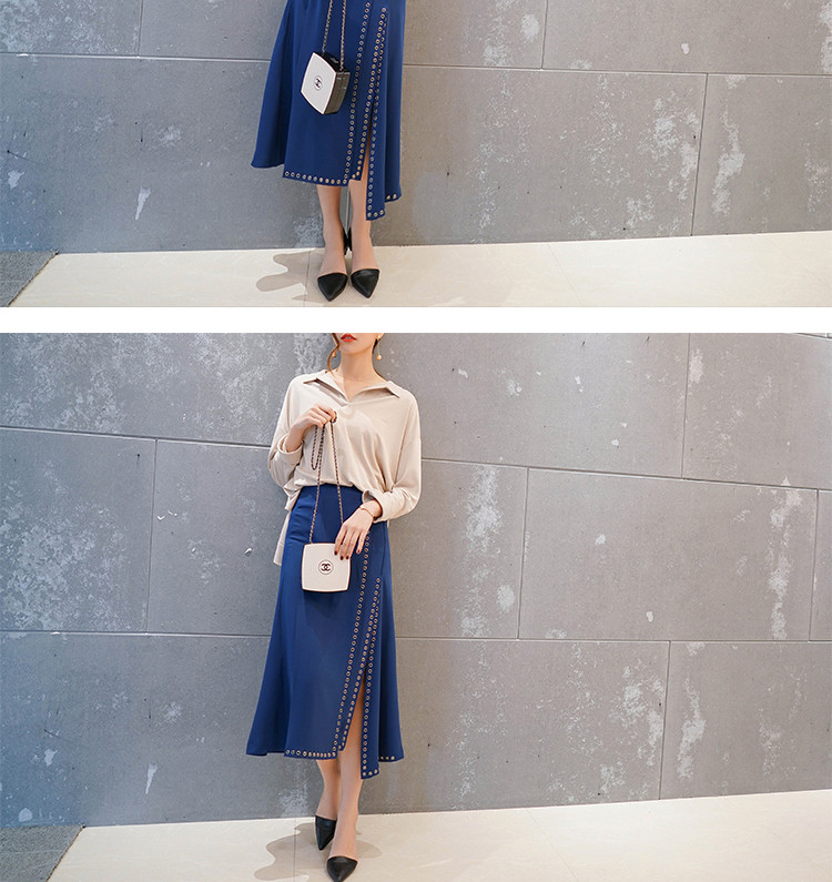 Chic Irregular rivet split sexy A-line midiskirt China factory