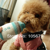 15CM Size Blue Color 1pc/lot Free Shipping Squeak Poodle Pet Toys Plush sounding bottle Dog Toys for Clean Teeth W044