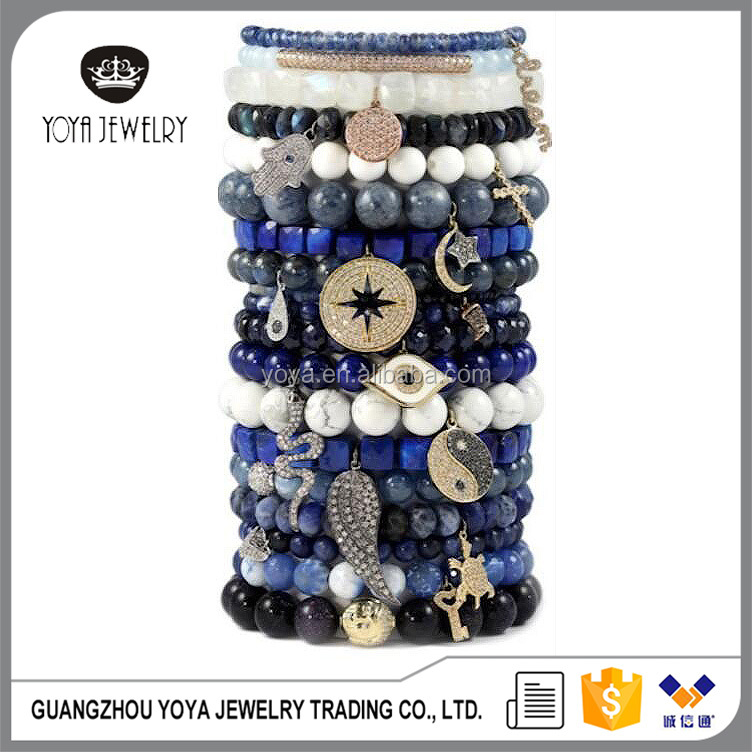 BRZ1314 Fashion natural stone beaded elastic bracelet with diamond cz pave charms,