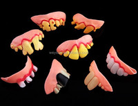 2000pcs Terrible Funny Goofy Fake Rotten Teeth Halloween Party Favor Creepy Dentures gift DHL Freeshipping