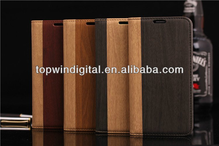 Hot Sell!! Wood Grain Wallet Leather Case For Samsung Galaxy S5