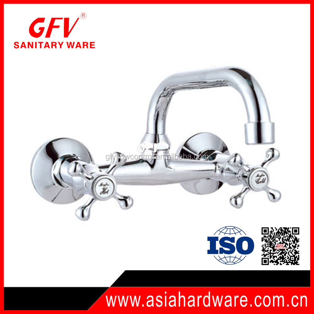 GFV-K1078 New design hot sale brass chrome wall mounted kitchen mixer taps