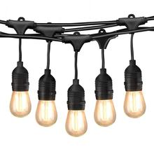 15 x E26 Sockets and Hanging Loops S14 Bulbs (3 Spares)Outdoor String Lights 48ft Patio Lights