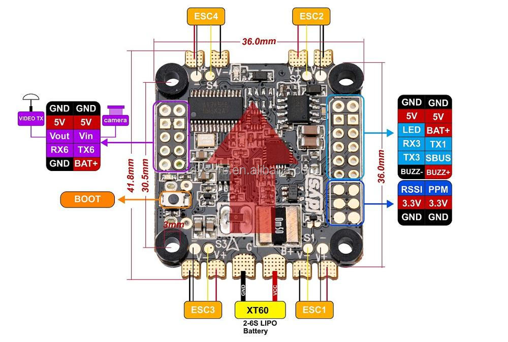 DYS F4 PRO flight controller with 5V3A BEC intergrated OSD PPM 3.3V output RSSI port current meter to compatible with All ESCs