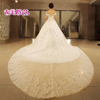 Wedding dress Jigme married Arts princess dress 2014 new word shoulder bridal diamond tailing HT7106