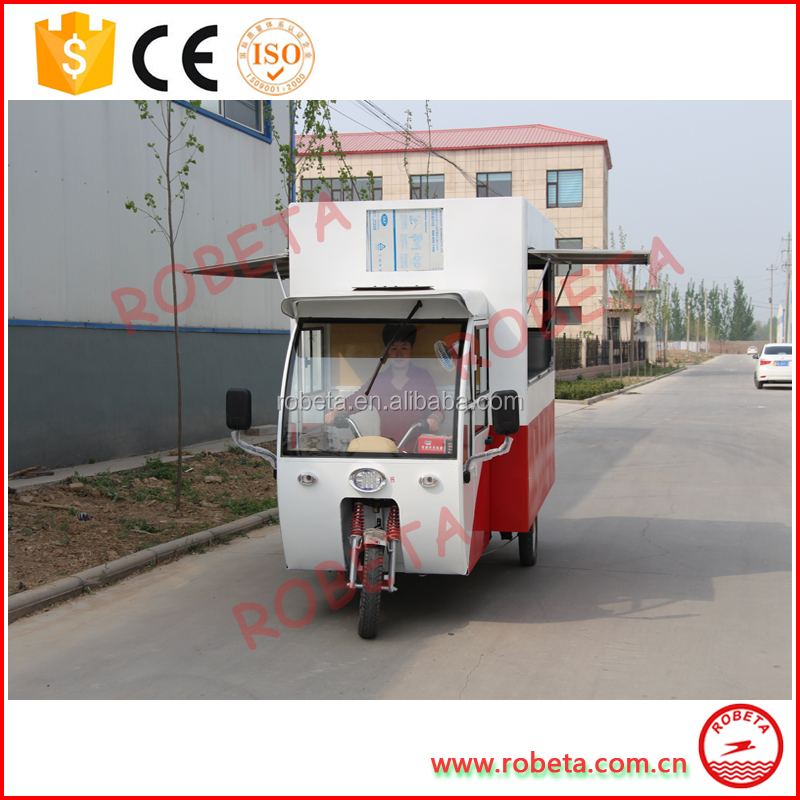 Electric tricycle vending mobile breakfast food cart for sale